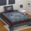 Dark Blue Giza Cotton Animal Print Single Bedsheet with One Pillow Cover