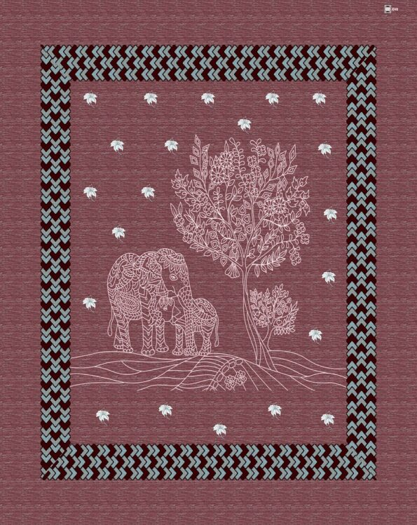 Dark Cherry Giza Cotton Animal Print Single Bedsheet Closeup