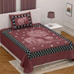 Dark Cherry Giza Cotton Animal Print Single Bedsheet with One Pillow Cover