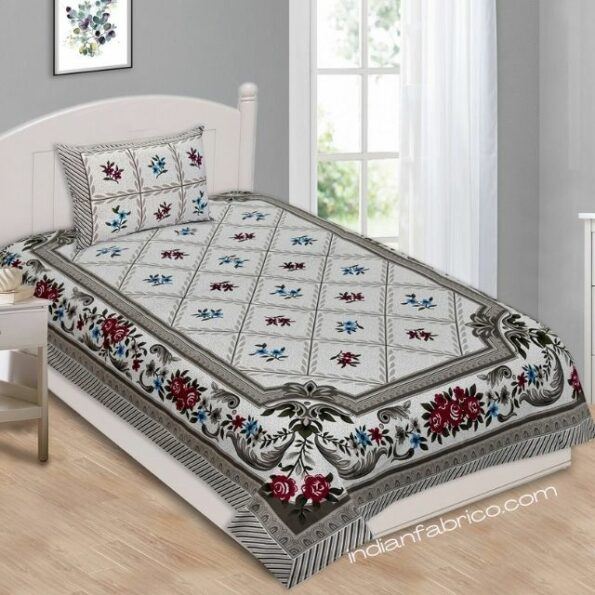 Grey Base Floral Print Single Bedsheet with One Pillow Cover