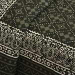 Indigo Dark Green Color Square Border King Size Bedsheet Side view