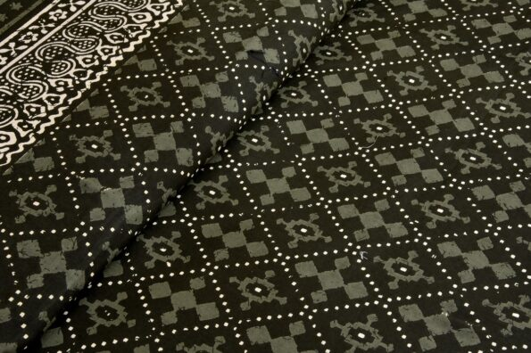 Indigo Dark Green Color Square Border King Size Bedsheet View