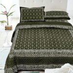 Indigo Dark Green Color Square Border King Size Bedsheet