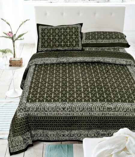 Indigo Dark Green Color Square Border King Size Bedsheet