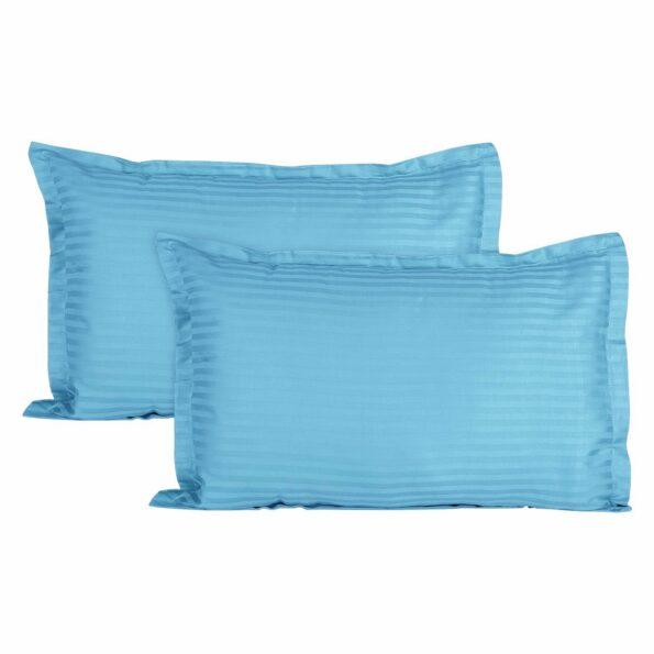 Light Blue Satin Pure Cotton King Size Bedsheet Pillow