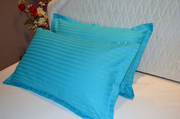 Light Blue Satin Pure Cotton King Size Bedsheet with 2 Pillow Cover