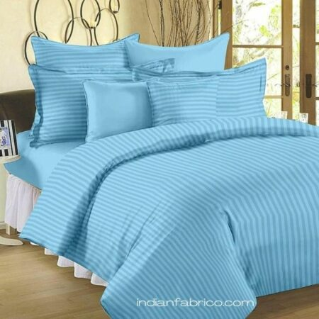 Light Blue Satin Pure Cotton King Size Bedsheet with 2 Pillow Covers