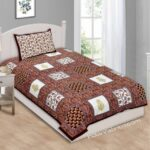 Multi Brown Floral Single Bedsheet with One Pillow Cover