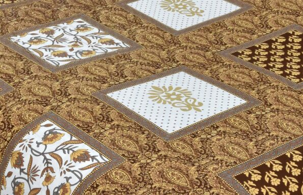 Multi Dark Brown Floral Single Bedsheet Closeup