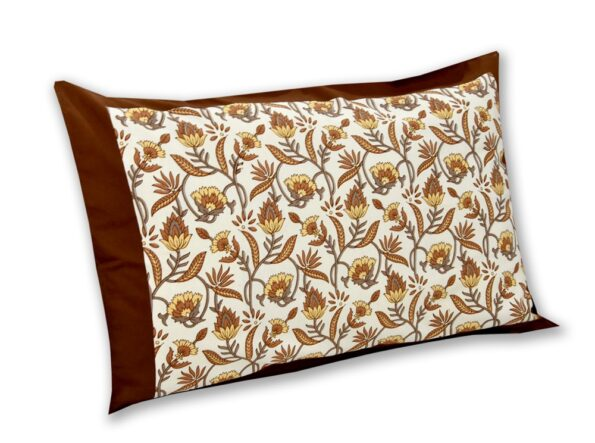 Multi Dark Brown Floral Single Bedsheet with One Pillow Cover