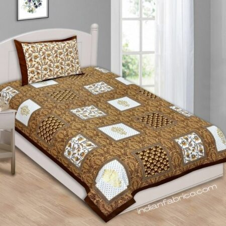 Multi Dark Brown Floral Single Bedsheet with One Pillow Covers