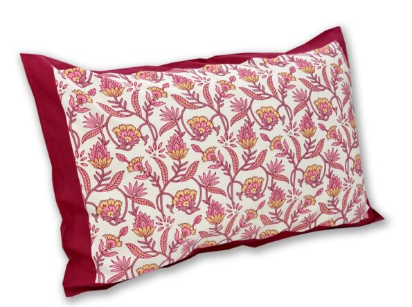 Multi Pink Floral Single Bedsheet with One Pillow Covers