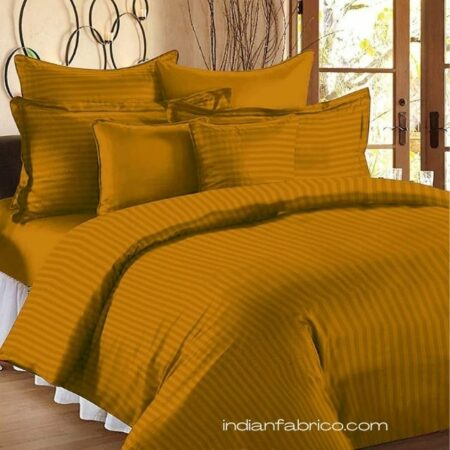 Mustard Gold Satin Pure Cotton King Size Bedsheet with 2 Pillow Covers