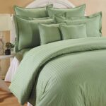 Pista Green Satin Pure Cotton King Size Bedsheet with 2 Pillow Covers