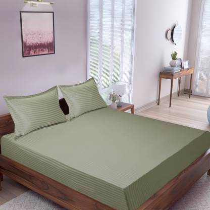 Pista Green Satin Pure Cotton King Size Bedsheets