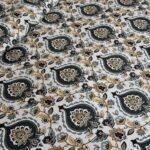 Beautiful Cream Base Blue Flowers King Size Bedsheet Closeup