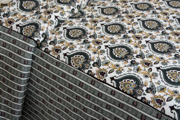 Beautiful Cream Base Blue Flowers King Size Bedsheet Side View