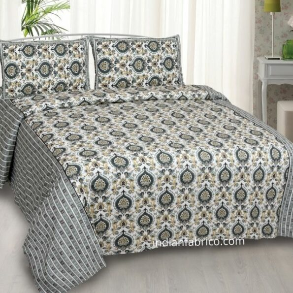 Beautiful Cream Base Blue Flowers King Size Bedsheet with Two Pillow Covers