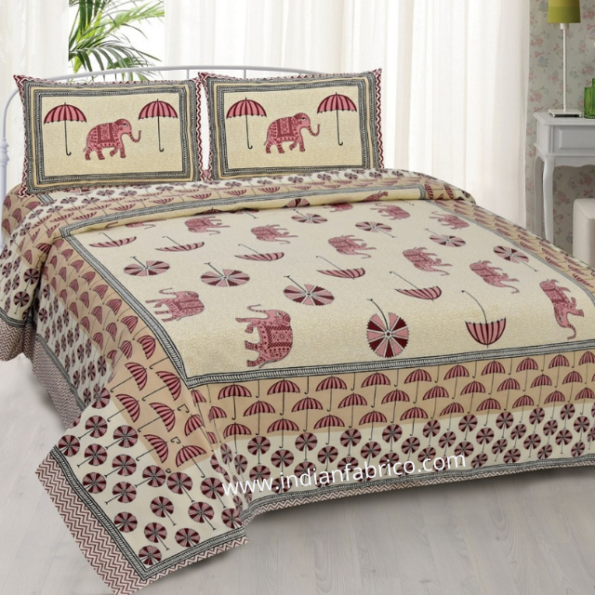 Beautiful Pink Colour Elephant and Umbrella Print Double Bed Sheet