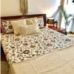 Reddish Floral Pattern King Size Bedsheet with Two Pillow Cover
