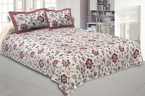 Reddish Floral Pattern King Size Bedsheet with Two Pillow Covers