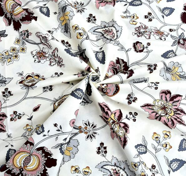 Reddish Floral Pattern King Size Bedsheet with Two Pillow Covers Closeview