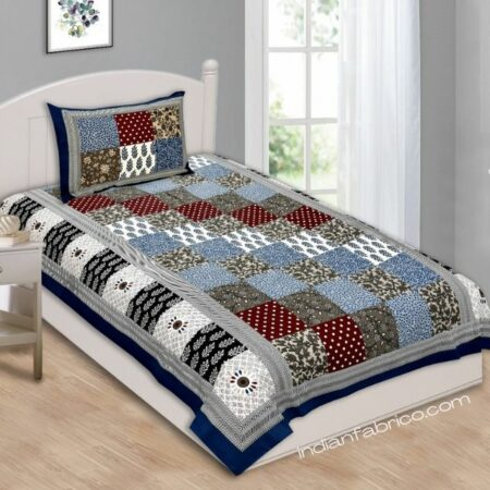 Blue Border Floral Print Single Bed Sheet with One Pillow Cover