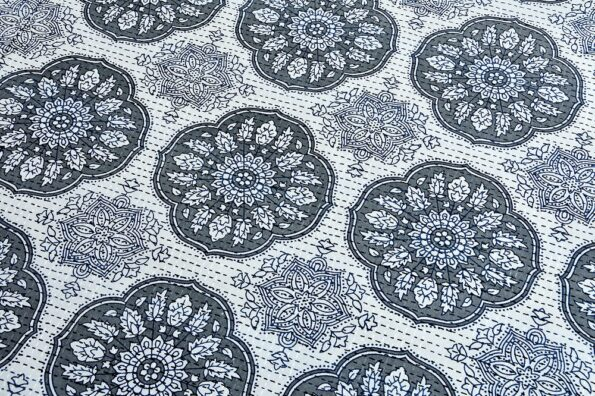 Blue Flowery with Circle Design Super Fine Cotton Bed Sheet Closeup