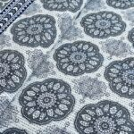 Blue Flowery with Circle Design Super Fine Cotton Bed Sheet Front View