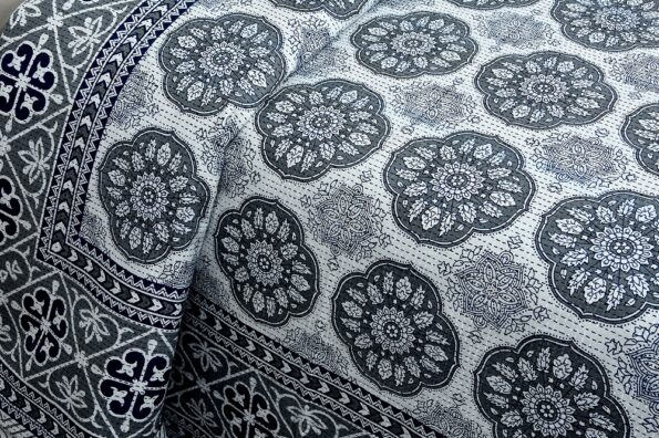 Blue Flowery with Circle Design Super Fine Cotton Bed Sheet Side View
