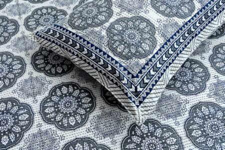Blue Flowery with Circle Design Super Fine Cotton Bed Sheets