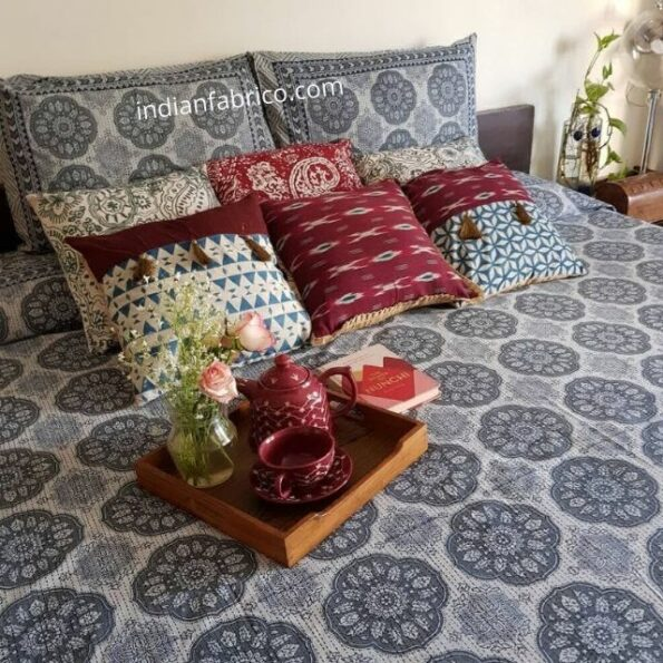 Blue Flowery with Circle Design Super Fine King Size Bed Sheet