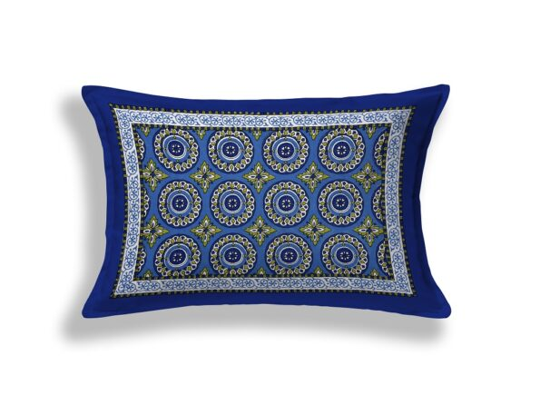 Blue Traditional Badge Single Bedsheet Pillow Cover