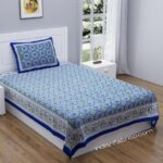 Blue Traditional Badge Single Bedsheet with One Pillow Cover
