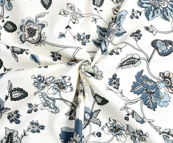 Blueish Floral Pattern King Size Bedsheet Closeup