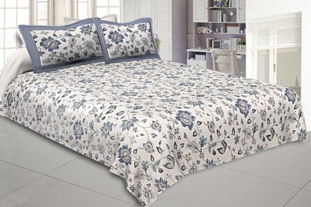 Blueish Floral Pattern King Size Bedsheet with Two Pillow Cover