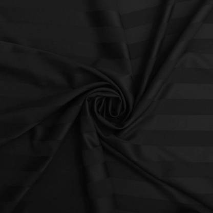 Dark Black Satin Stripe Pure Cotton King Size Bedsheet Closeup