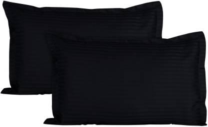 Dark Black Satin Stripe Pure Cotton King Size Bedsheet Pillow Covers