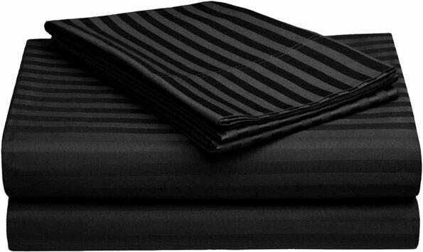 Dark Black Satin Stripe Pure Cotton King Size Bedsheet view