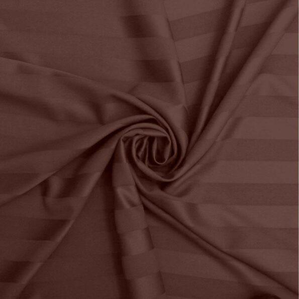 Dark Brown Satin Pure Cotton King Size Bedsheets Closeup