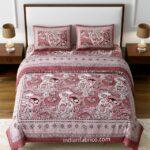 Dark Cherry Beautiful Floral Print Double Bedsheet