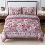 Dark Cherry Beautiful Floral Print King Size Bedsheet