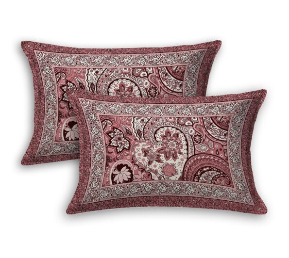 Dark Cherry Beautiful Floral Print King Size Bedsheet Pillow Covers