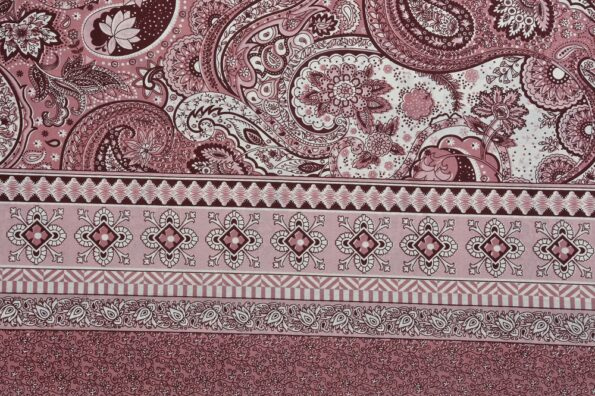 Dark Cherry Beautiful Floral Print King Size Bedsheet Side View