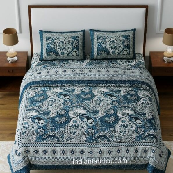 Dark Teal Beautiful Floral Print Double Bedsheet