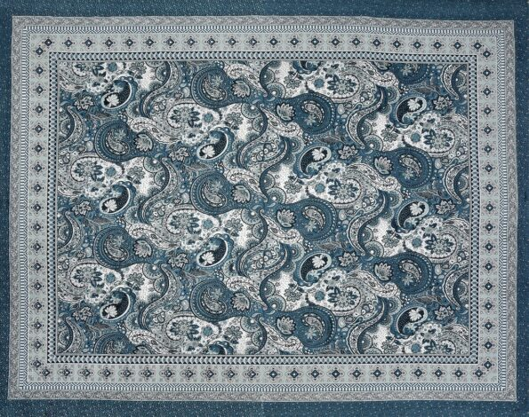 Dark Teal Color Beautiful Floral Print King Size Bedsheet Full View