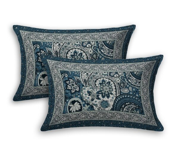 Dark Teal Color Beautiful Floral Print King Size Bedsheet Pillow Cover