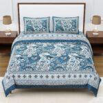Dark Teal Color Beautiful Floral Print King Size Bedsheets