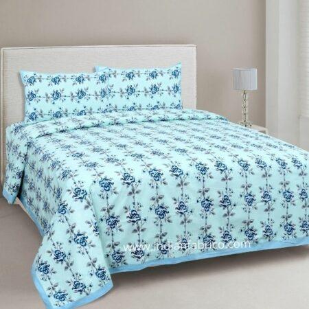 Ethnic Jaipuri Blue Flower Print Sky Color Double Bed Sheet