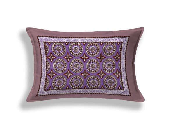Light Violet Traditional Badge Single Bedsheet Pillow Cover
